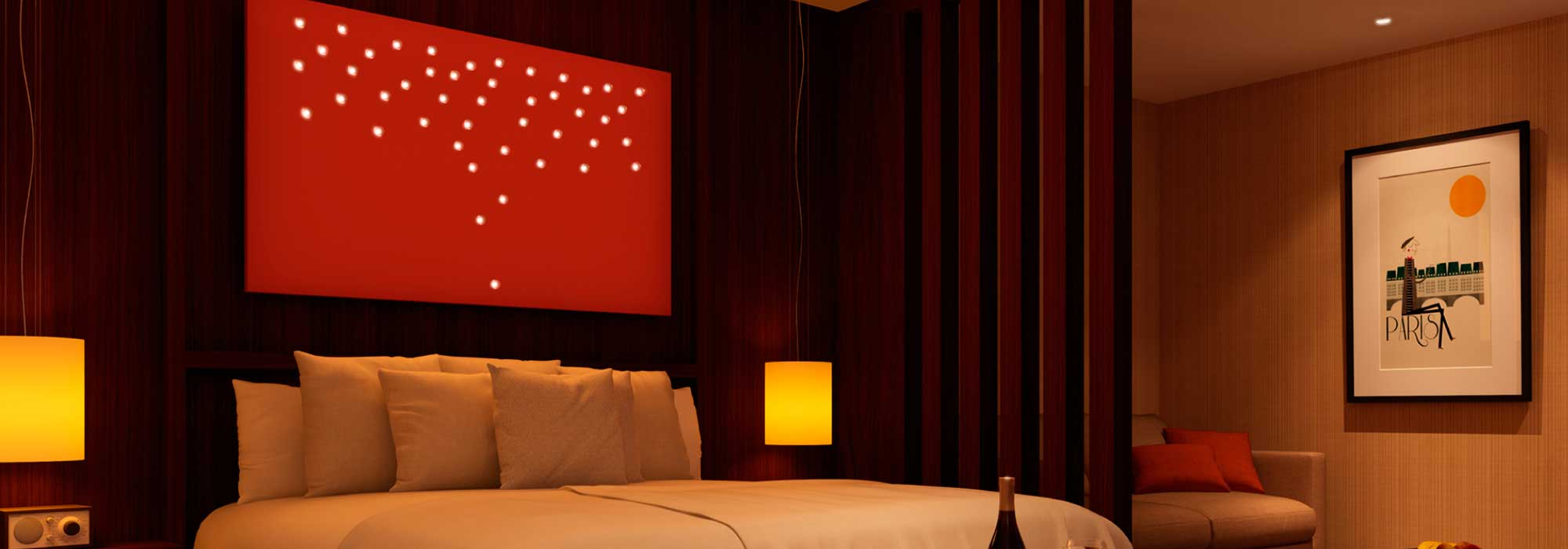 Philips Luminous Patterns - creating a cosy atmosphere in a hotel room.