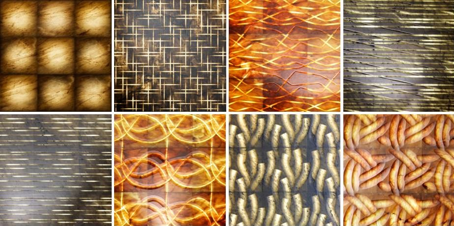 Image of various patterns as included in Lithos Design Pietre Luminose Collection