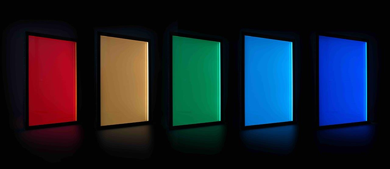 Image of LightGlass panels featuring RGB light technology