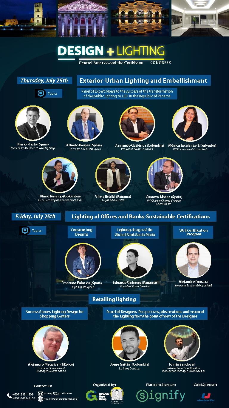Speaker overview of the 2019 Design + Lighting Congress