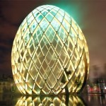 Image of giant illuminated egg during Illuminade 2012 in Amsterdam, Netherlands during the Light Festival