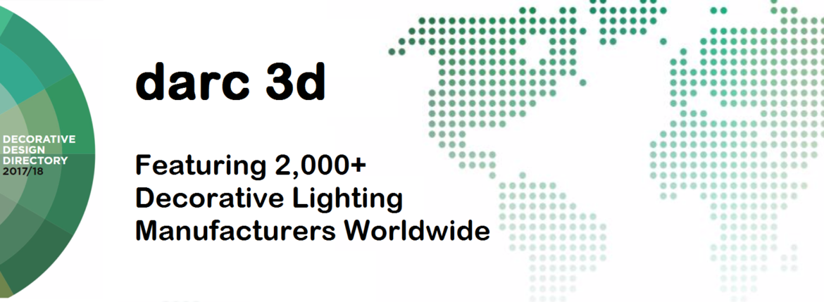 Banner of darc 3d magazine featuring 2000 decorative lighting suppliers worldwide